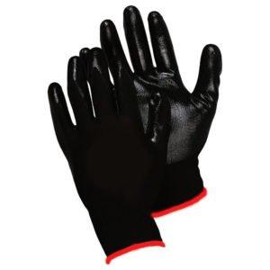 Перчатки нейлоновые с нитриловым покрытием ладони, черный/черный