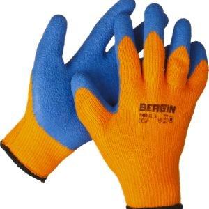 Перчатки акриловые с рельефным латексным покрытием, утепленные