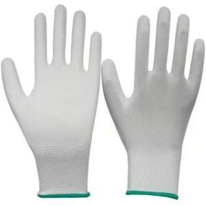 Перчатки нейлоновые с ПУ покрытием пальцев, цв. белый