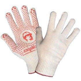 Перчатки люкс «РосМарка» белые 10й класс, с ПВХ точка