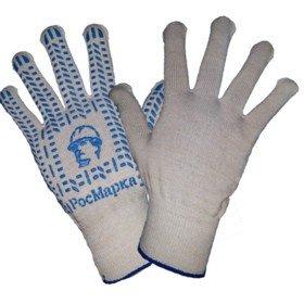Перчатки люкс «РосМарка» белые 13й класс, с ПВХ протектор, вес 52 грамм