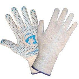Перчатки стандарт «РосМарка» белые 10й класс, с ПВХ точка