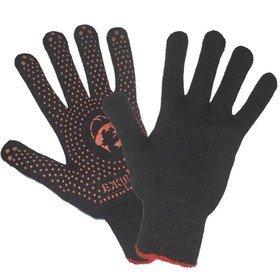 Перчатки люкс «РосМарка» черные 10й класс, с ПВХ точка, вес 62 грамм
